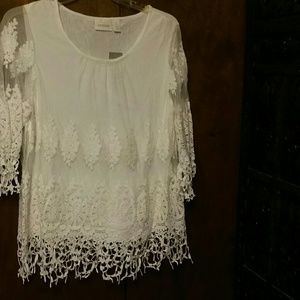 NWT CHICO'S WHITE  EMBROIDERED LACE TOP - 2